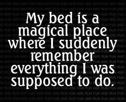 My bed is a magical place where I suddenly remember everything I was supposed to do.: