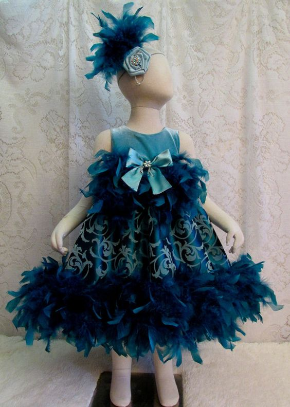 2T Teal & Seafoam Green Flocked Feather Dress with by cd1ofakind