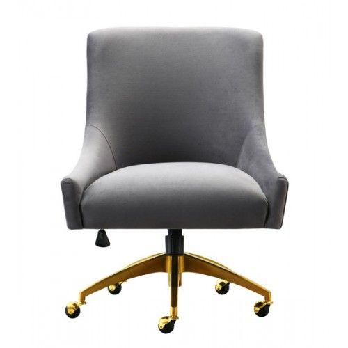 Grey Velvet Swivel Office Desk Chair Gold Base Wheels Office