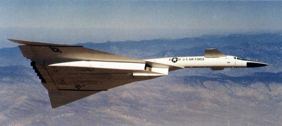 North American XB-70A Valkyrie in flight (U.S. Air Force photo).