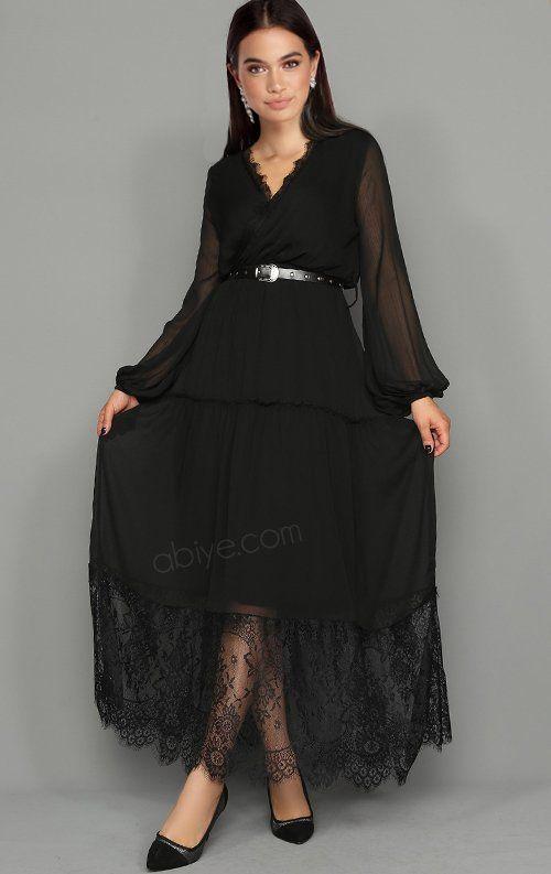 Sifon Dantel Detay Kemerli Siyah Abiye Elbise Siyah Dantel Elbiseler Siyah Sifon Elbiseler Siyah Abiye