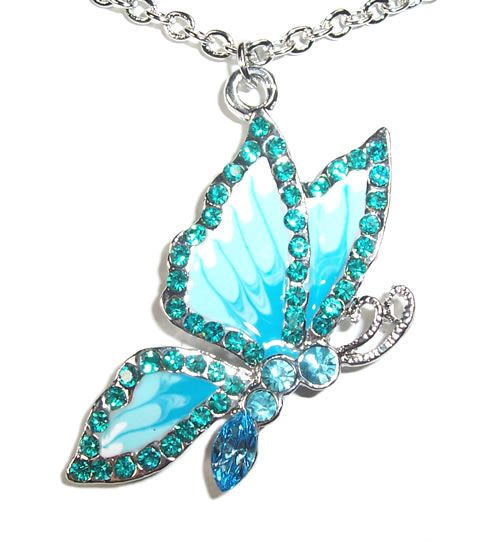 Butterfly aquamarine necklace