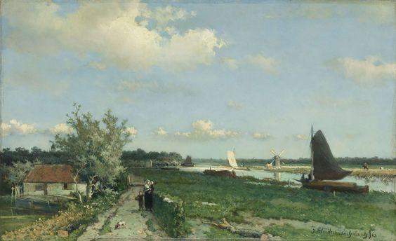 De Trekvliet bij Rijswijk, bekend als 'Gezicht bij de Geestbrug', Johan Hendrik Weissenbruch, 1868. #Rijksmuseum