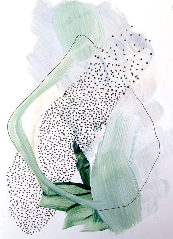 Inspiré par les couleurs douces et le mouvement des plantes dans ma maison 5.5 x8.5 » Acrylique et encre sur papier Bristol d'archives Signée et datée