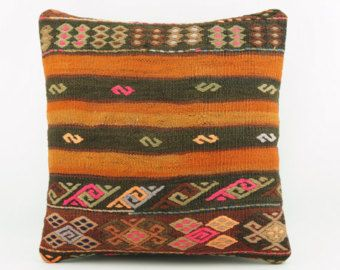 "Taupe striped  embroidered pillow cover, Art deco pillow, 16"" square pillow cover  ,ethnic kilim pillow,  1993"