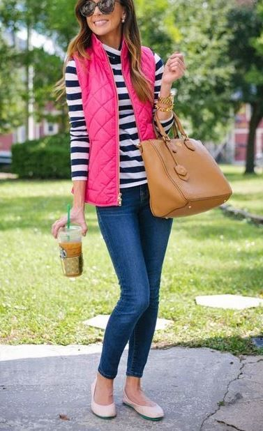 the perfect preppy style for fall! | j crew puffer vest + striped t shirt