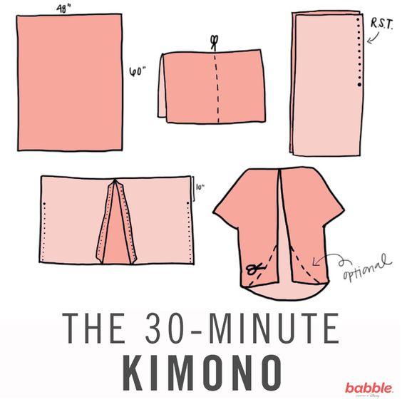 Kimono simple a base de un rectángulo de tela: