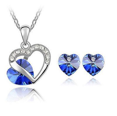 Women Fashion heart Crystal Rhinestone Sterling Chain Pendant Necklace& Earring - EXCLUSIVE DEAL! BUY NOW ONLY $2.19