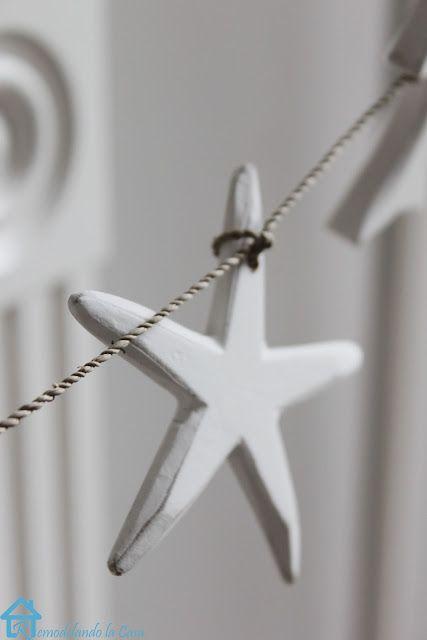 Wooden White Starfish Garland