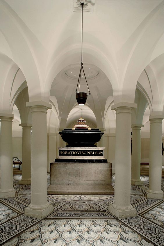 Lord Horatio Nelson's Tomb in the Crypt of St. Paul's Cathedral, London