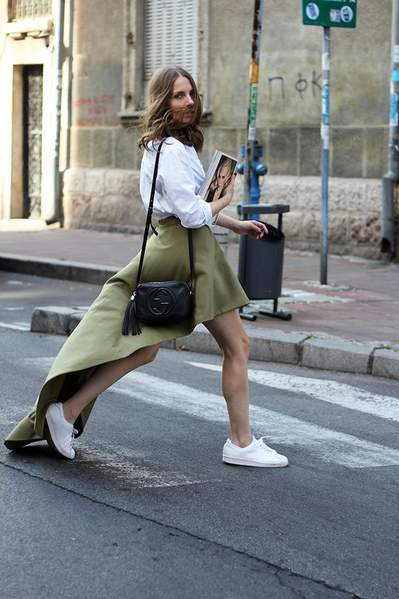 Vanja Milicevic of 'Fashion and Style' Blog // Asymmetric olive green skirt: