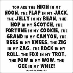 you are the high in my noon, the flap in my jack, the jelly in my bean, the hop in my scotch, the fortune in my cookie, the grand in my canyon, the bees in my knees, the zig in my zag, the rock in my roll, the fox in my trot, the pow in my wow, the gee in my whiz!  - h. jackson brown, jr.