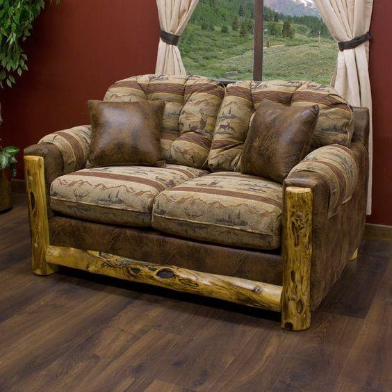 Log decor loveseats and aspen on pinterest for Aspen logs for decoration