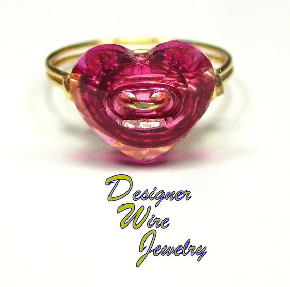 DWJ0505 Stunning Genuine Swarovski Crystal Rose Pink Heart Gold Wire Wrap Ring All Sizes