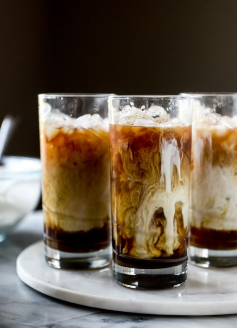 Iced Whiskey Coffees with Whiskey Syrup and Whipped Cream | howsweeteats.com