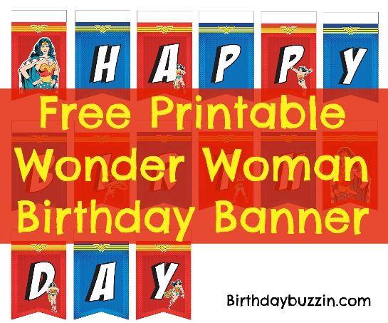 Free Printable Wonder Woman Birthday Banner With Images Wonder