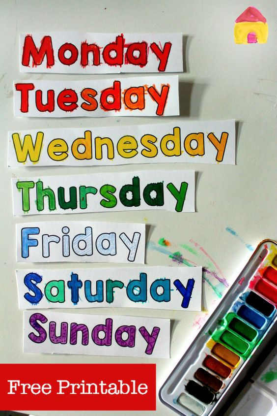 Free days of the week printable spinner | Activities, Colors and ...