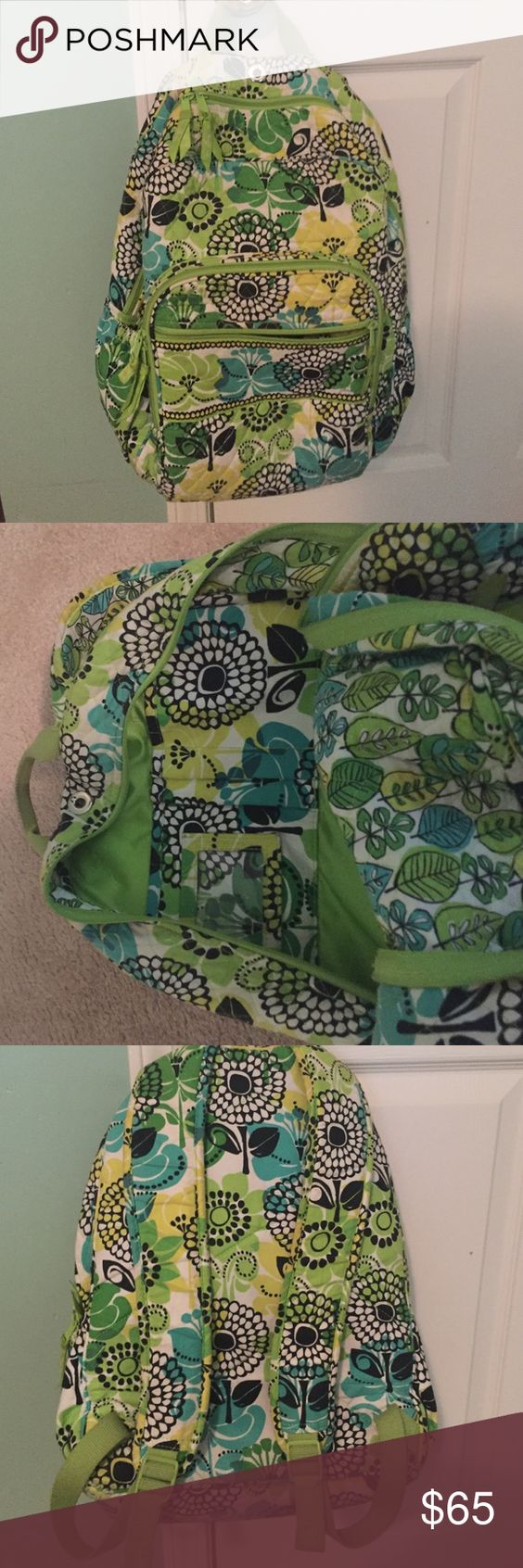 Vera Bradley 3 pocket backpack. Gently used. Gently used Vera Bradley backpack with 3 pockets. 2 cup/ tumbler holders on side and hole for earbuds. Great condition. Vera Bradley Bags Backpacks