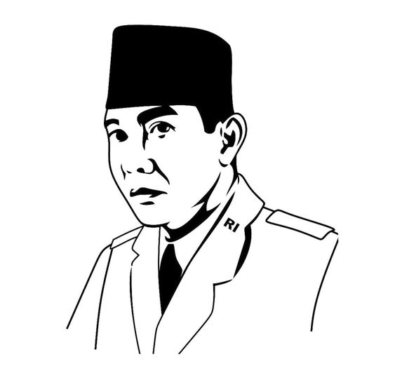 Gambar Mewarnai Soekarno Pahlawan Nasional Indonesia Sketches