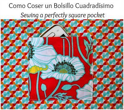 TUTORIAL para coser un bolsillo cuadrado perfecto :: TUTORIAL to sew a perfect square patch pocket