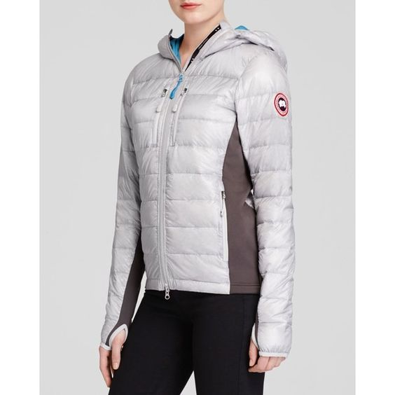 Canada Goose Hybridge Light Hooded Jacket ($431) ❤ liked on Polyvore featuring outerwear, jackets, canada goose jacket and canada goose