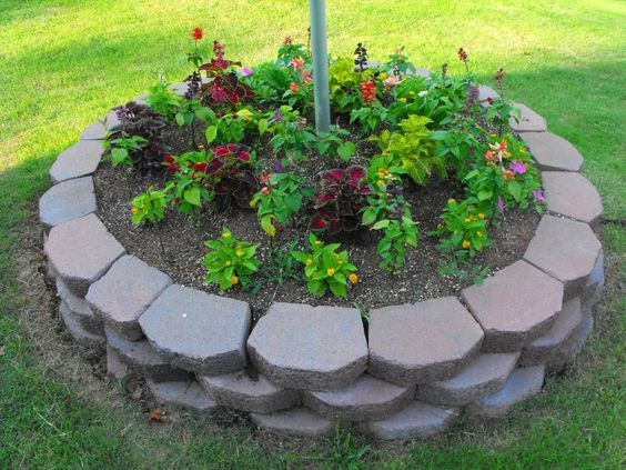 landscaping around a flag