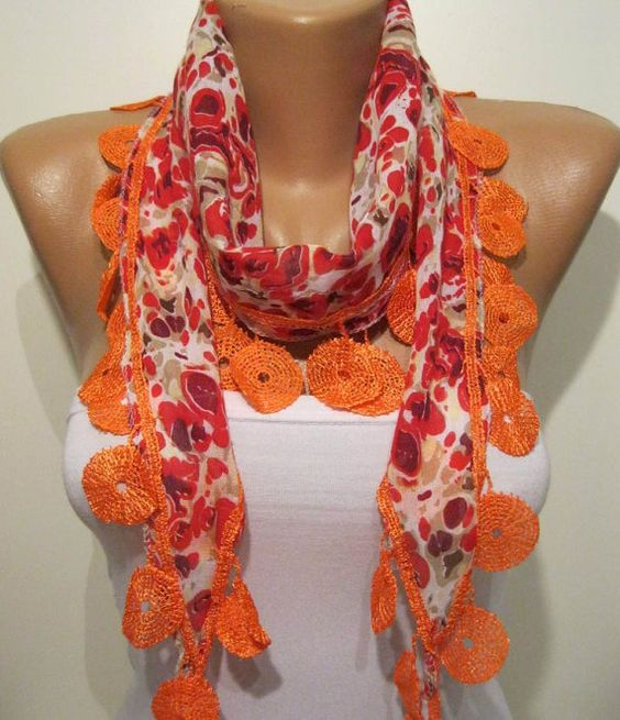 Red and Orange Elegance Shawl / Scarf with Lace by SwedishShop, $13.90