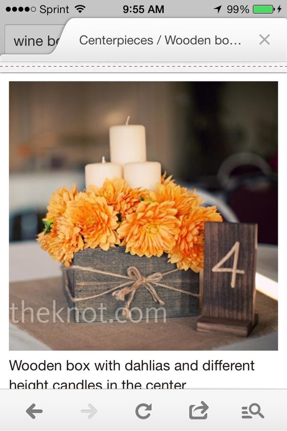 Wine box center piece candles