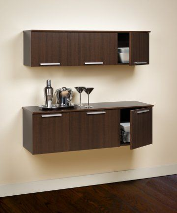 Coal Harbor Espresso Wall Mounted Buffet And Hutch By
