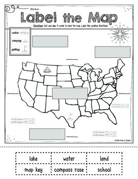 map skills for kindergarten or first grade social studies print and go sheet labeling compose. Black Bedroom Furniture Sets. Home Design Ideas