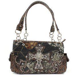 Brown Mossy Oak Camouflage Handbag with Rhinestone Cross In Stock: $45