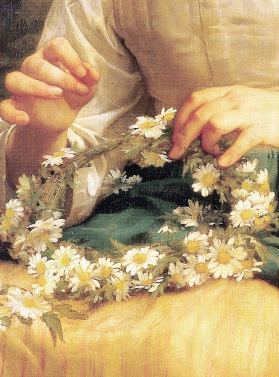 Child Braiding A Crown 1874  ~ William Adolphe Bouguereau  (detail)
