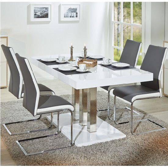Palzo Dining Table In White Gloss With 4 Marine Grey Chairs Dining Table Contemporary Wooden Dining Table Beige Dining Chair