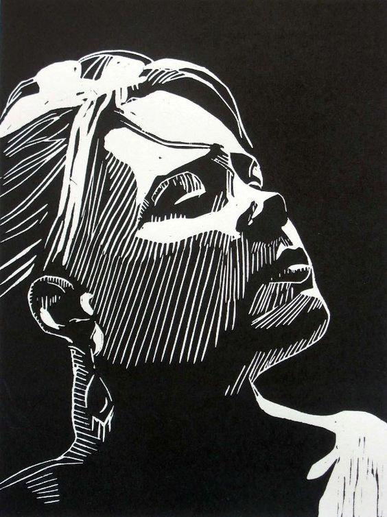 """Awaiting"" linocut by Mark Rowden. http://www.wingedlionpress.com.au/ Tags:  Woman, Portrait, Profile, Linocut, Cut, Print, Linoleum, Lino, Carving, Block, Woodcut, Helen Elstone.:"