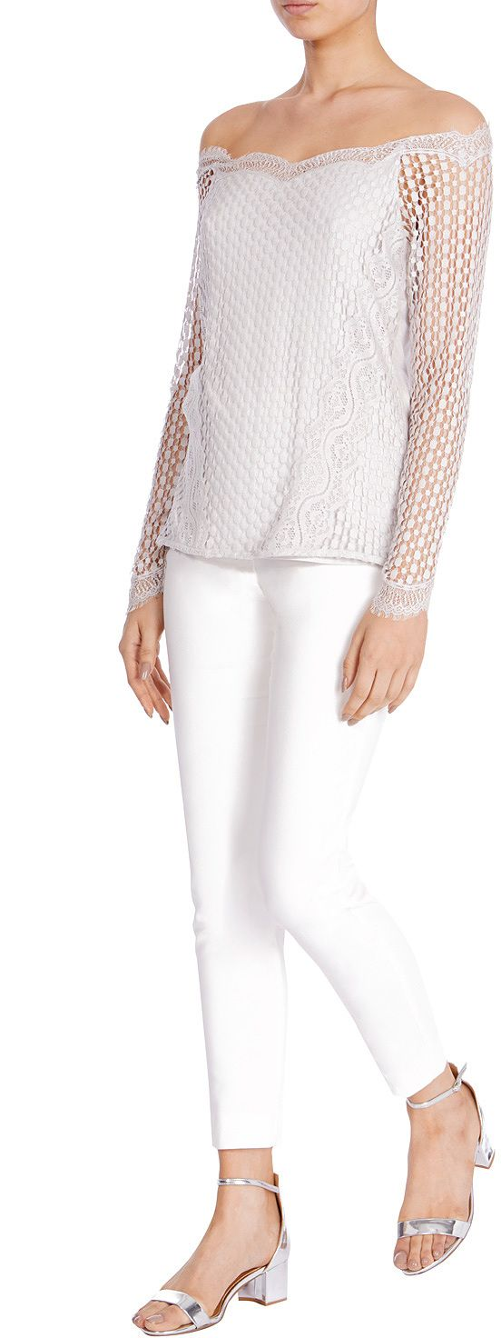 Womens white jarina lace bardot top from Coast - £49 at ClothingByColour.com