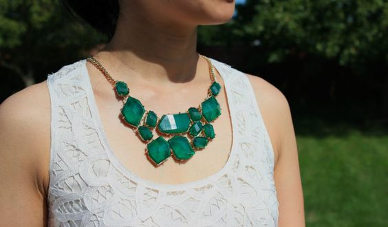 phiphi's blog: all hail the green necklace @a-thread . @Gap cropped pants @Madewell lace tank