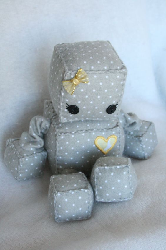 Robette the Girly Plush Robot by Littlebrownbyrd on Etsy