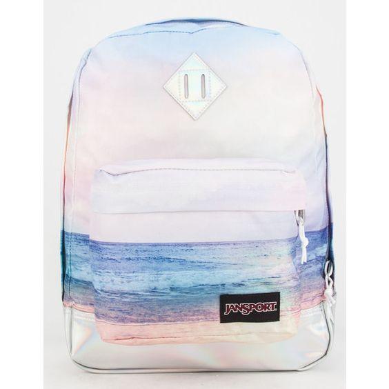 JanSport Super FX Backpack (£34) ❤ liked on Polyvore featuring bags, backpacks, sunset, knapsack bags, strap bag, padded bag, beach backpack et polyester backpack