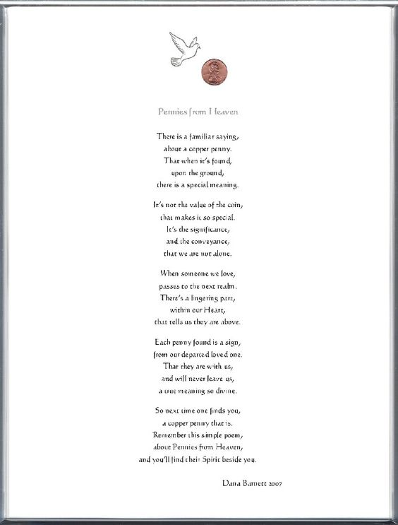 saying pennies from heaven Keepsake Adult Remembrance 8 x 10 - project report format