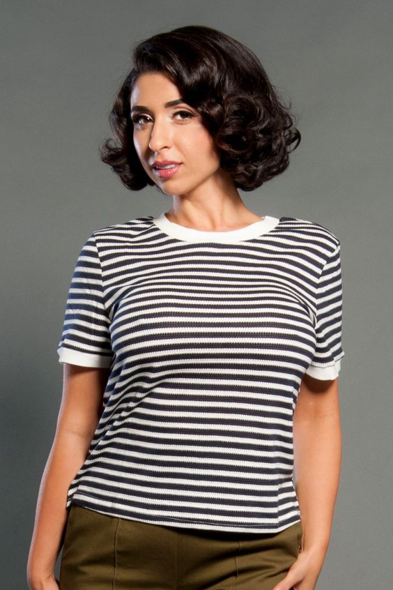 Ringer Tee in White and Navy Stripes