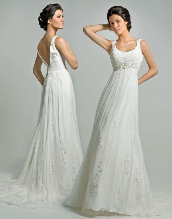 Vintage Round Neckline Empire Waist Chiffon Pleated With Straps Beads Designer Wedding Dress (DWD-110):