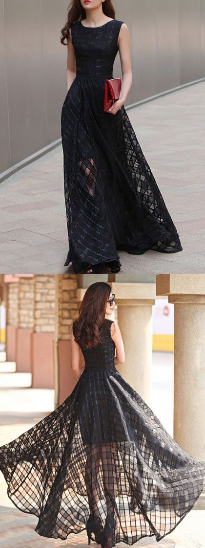 Black plaid print organza skater maxi dress