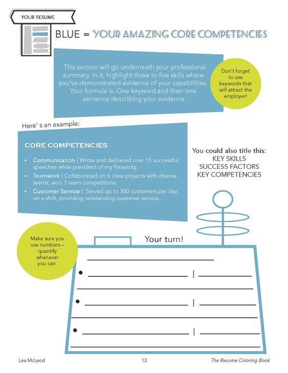 Update your core competencies using the #ResumeColoringBook - core competencies resume