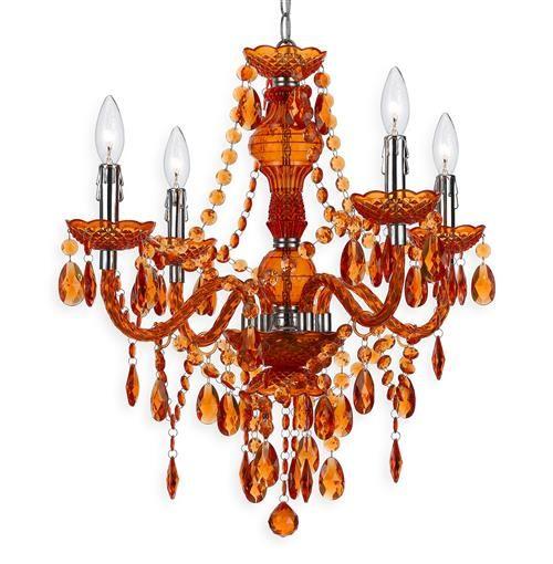 Orange 4 Light Mini Chandelier, Orange Crystal Chandelier