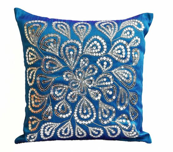 Blue throw pillows with silver sequins Dazzling by AmoreBeaute
