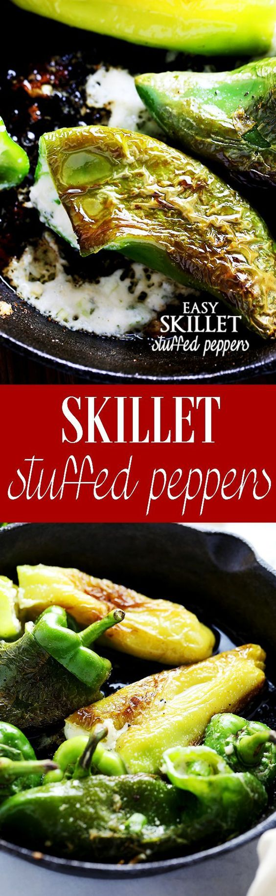 Easy Skillet Stuffed Peppers | www.diethood.com | Quick, easy, deliciously cheesy stuffed peppers prepared on the stove top.