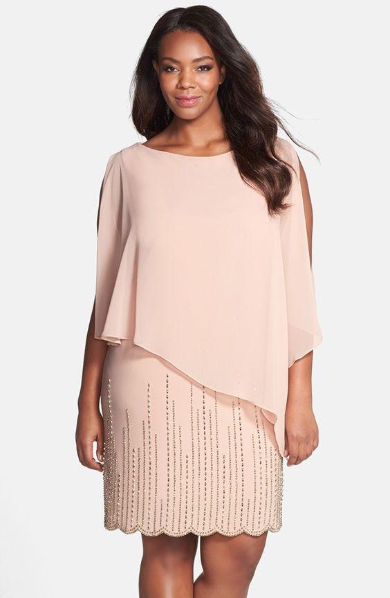 Chiffon Overlay Beaded Jersey Dress (Plus Size)