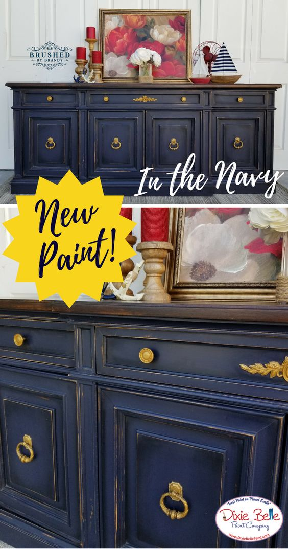This Amazing Buffet Was Painted With The New Dixie Belle Paint Color In The Navy Painted Furniture Colors Distressed Furniture Painting Repainting Furniture