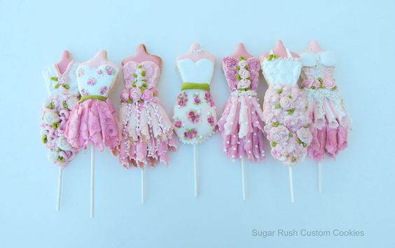 Princess Dress Cookie Pops! Made with royal icing and chocolate.