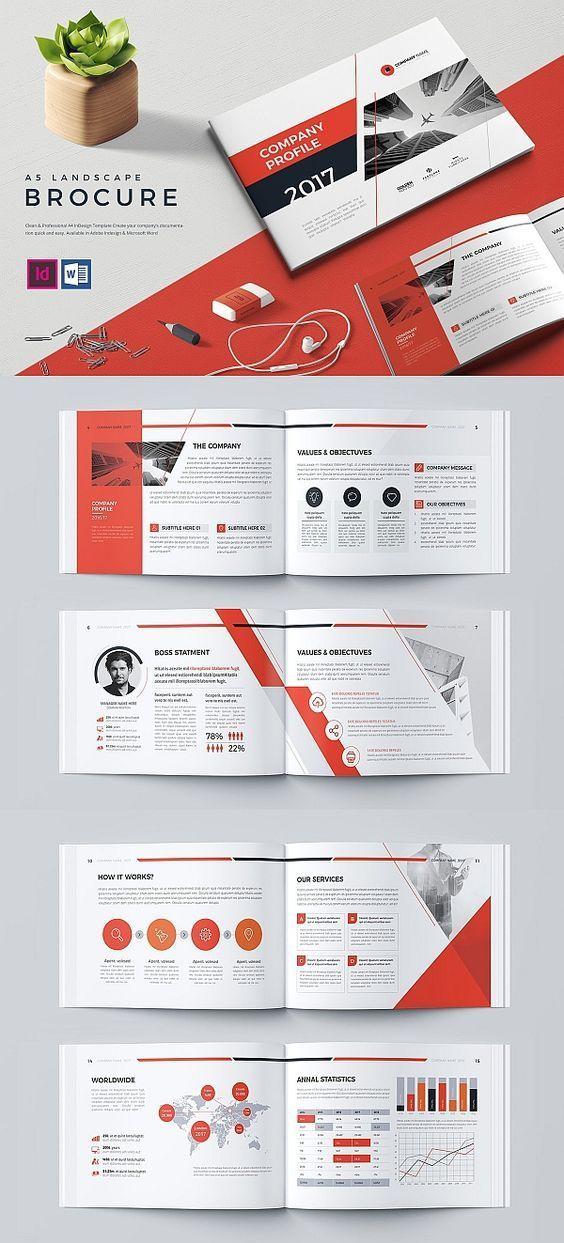 A5 Landscape Company Profile Template Companyprofile Brochure Template Brochuretemplates Indesign Templates Company Profile Design